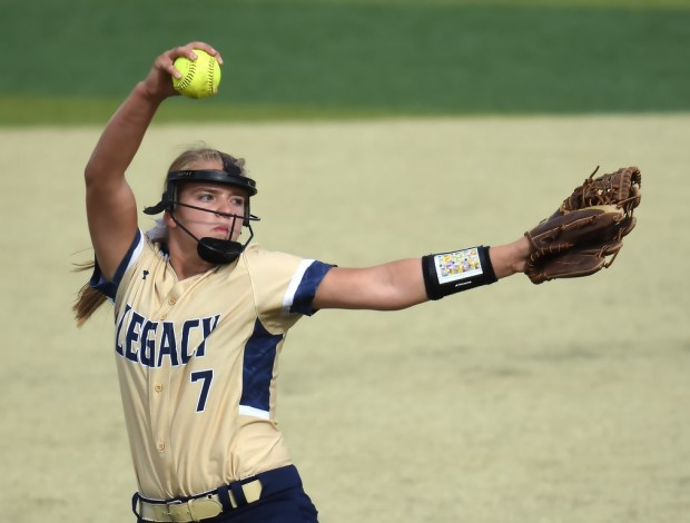Legacy pitcher Hannah Farley delivers a pitch during the Lightning's game against Wheat Ridge on Friday at Metropolitan State University in Denver. Photo by Brad Cochi, BoCoPreps