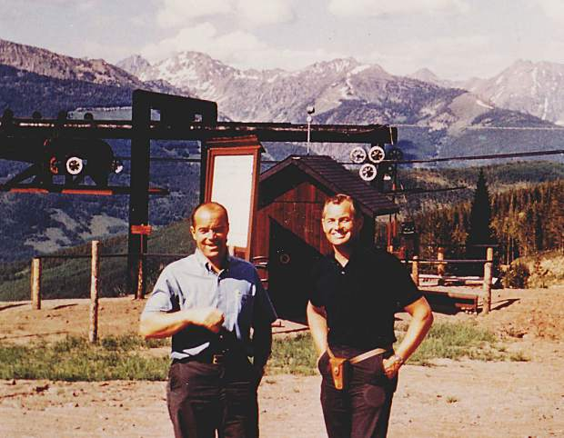 Vail's founder Pete Seibert, left, and the first ski school director Morrie Shepard are all smiles as they prepare for opening day in 1962. Pete and Morrie grew up together in Sharon, Mass.