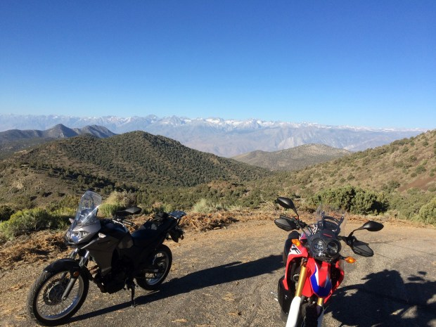 The author and his riding partner for the day posed their dual sport bikes against a backdrop of the Eastern Sierras.