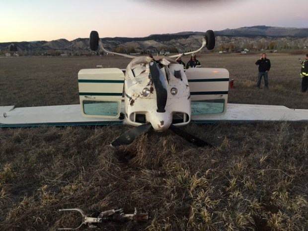 At approximately 6 p.m., a single-engine plane with two people on board made emergency landing in a field near Gypsum Creek Road south of Cooley Mesa Road.