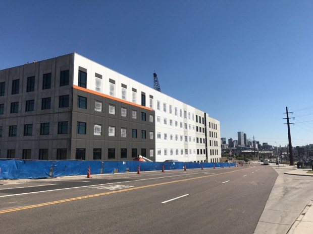 A photo taken for the Colorado Department of Transportation shows progress on construction of its new headquarters building near Colfax Avenue and Federal Boulevard in early September 2017.