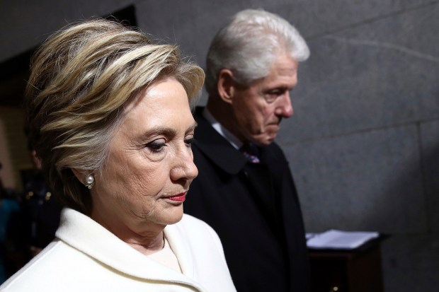 Former Secretary of State Hillary Clinton and former President Bill Clinton arrive at the U.S. Capitol on Jan. 20 for President Donald Trump's inauguration.
