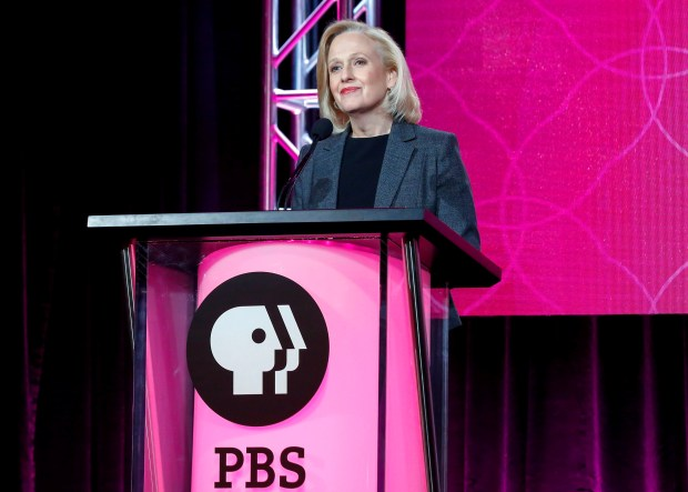 Paula Kerger, president and chief excutive of PBS, speaking on Jan. 15 in Pasadena, Calif.