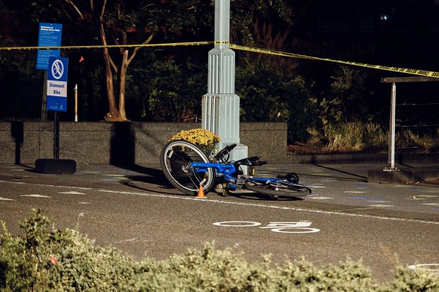 A bicycle lies on the Manhattan bike path where eight people were killed by a man driving a rented truck in a terrorist attack on Tuesday.