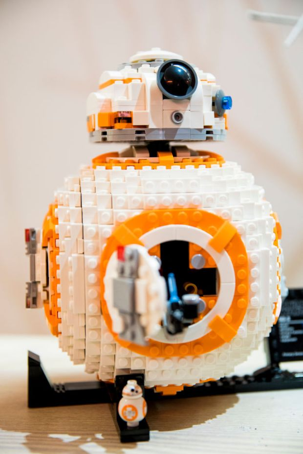 A LEGO BB-8 model is displayed ...