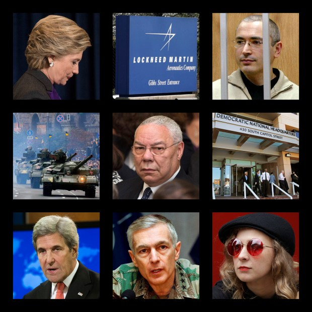 This combination of photos shows, top row from left, Hillary Clinton, the logo of the defense contractor Lockheed Martin, and former Russian oil tycoon Mikhail Khodorkovsky; middle row from left, tanks at a military parade in Kiev, Ukraine, former U.S. Secretary of State Colin Powell and the Democratic National Committee headquarters in Washington; bottom row from left, former Secretary of State John Kerry, former NATO Supreme Commander Wesley Clark and Maria Alekhina of the Russian punk band Pussy Riot. These people and organizations were among the thousands targeted by the hacking group Fancy Bear, which disrupted the 2016 U.S. presidential election. Fancy Bear had ambitions well beyond Clinton's campaign, according to a previously unpublished digital hit list obtained by The Associated Press.