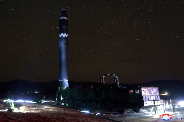 "This Nov. 29, 2017, image provided by the North Korean government on Thursday, Nov. 30, 2017, shows what the North Korean government calls the Hwasong-15 intercontinental ballistic missile, in North Korea. Independent journalists were not given access to cover the event depicted in this image distributed by the North Korean government. The content of this image is as provided and cannot be independently verified. Korean language watermark on image as provided by source reads: ""KCNA"" which is the abbreviation for Korean Central News Agency."