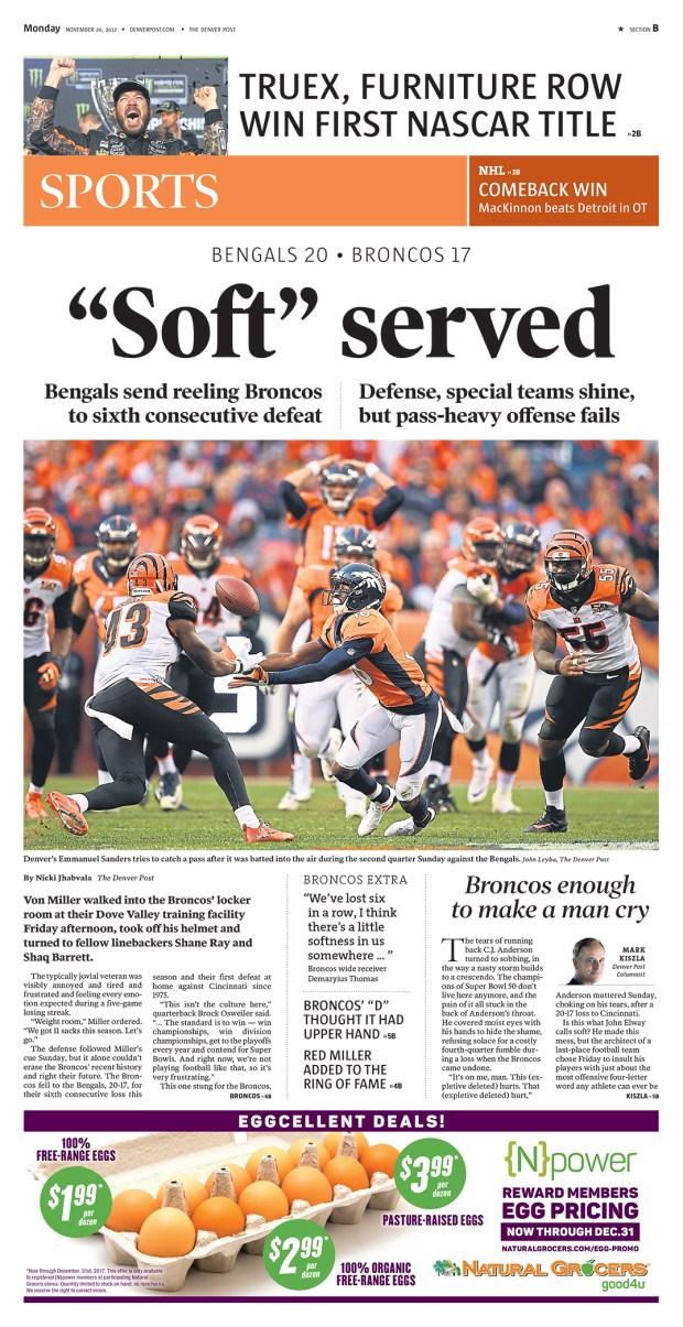The Denver Post Sports section, Nov. 20, 2017