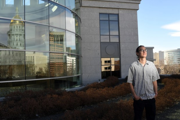 Brandon Rietheimer, campaign manager for the Denver Green Roof Initiative, stands in the rooftop garden at the Ralph L. Carr Colorado Judicial Center on March 3, 2017. Denver voters passed Initiative 300 last week, requiring all new buildings of 25,000 square feet or larger to devote a portion of the roof to gardens and other green coverings that would absorb rainfall and reduce heat.