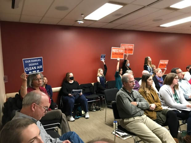 Colorado Springs residents express views at CDPHE AQCC hearing Thursday Nov. 16, 2017, on SO2 pollution from Drake coal-fired power plant in middle of city.