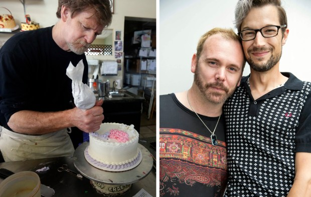 At left, Masterpiece Cakeshop owner Jack Phillips; at right, David Mullins and Charlie Craig.