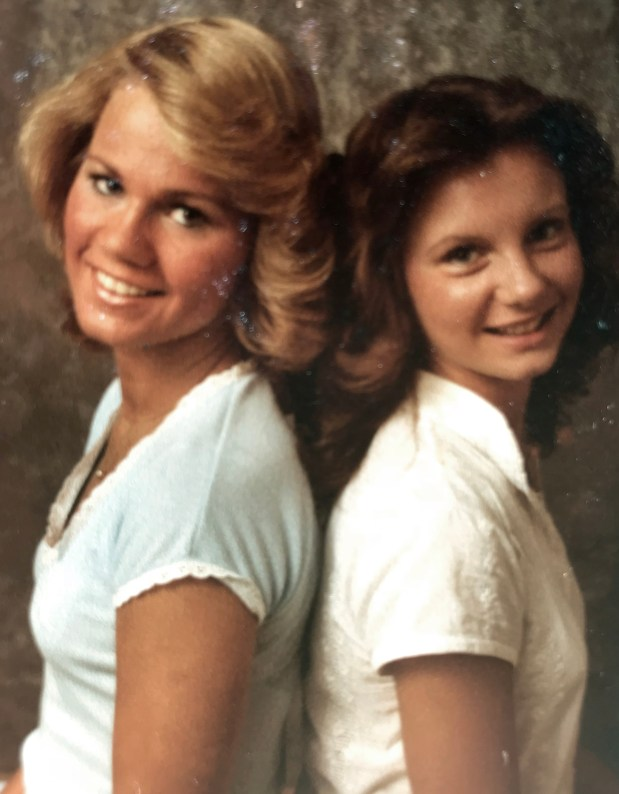 Kayla McLaughlin, left, and Gena Richardson - seen in 1977 - worked at Sears during their senior year of high school. Richardson says Moore visited her at the store and called her school to ask her out.
