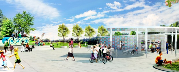 """At Paco Sanchez Park in west Denver, plans for the """"Re-imagine Play"""" project call for new kinds of playground equipment and a walking path spread throughout the park, along with a community plaza and equipment check-out kiosk (shown above). Denver's bond package will provide $6.6 million to complete the project."""