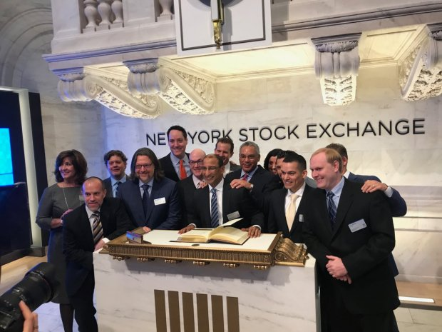 SendGrid CEO Sameer Dholakia, center, surrounded by company founders and board members as the company prepared for its IPO opening at the New York Stock Exchange on Nov. 15, 2017.
