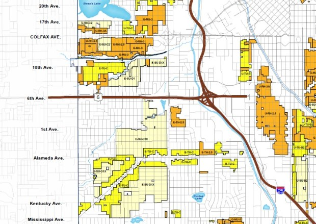 A portion of Denver's zoning map shows where detached accessory dwelling units (ADUs), also known as carriage houses, are allowed by zoning in west Denver neighborhoods. Some parcels that aren't shaded allow ADUs as part of main street or other denser zoning districts.