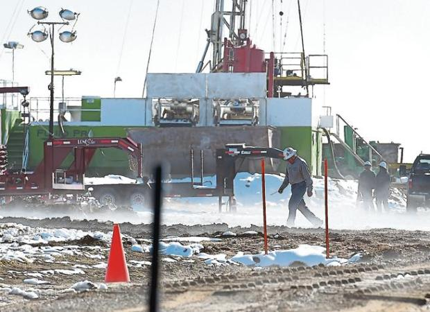 A crew with Extraction Oil and Gas Inc. is seen re-plugging an abandoned well last month near Berthoud. Extraction, Broomfield and the Colorado Oil and Gas Conservation Commission have been sued by Crestone Peak Resources for allegedly blocking access to property on which Crestone intends to drill.