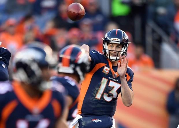 Denver Broncos quarterback Trevor Siemian (13) ...