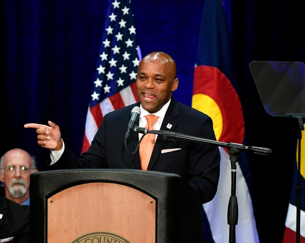 Denver Mayor Michael Hancock delivers the ...