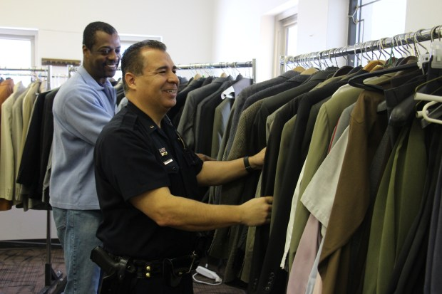 Lieutenant Jeff Martinez organized a DPD suit drive.