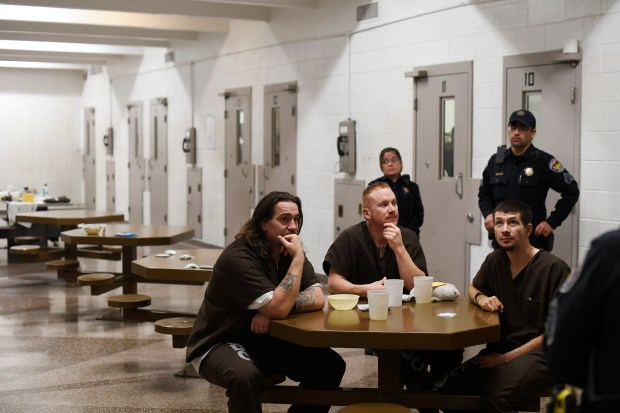 Inmates Sonny Sanchez, John Austin and Dominic Duran speak about the conditions at the Pueblo County Detention Center on Wednesday, Dec. 6, 2017.