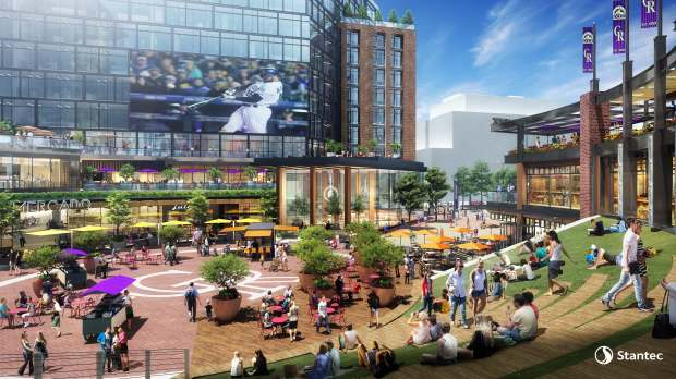 "A rendering of what the public plaza at the center of the multi-use project planned for the ""West Lot"" next door to Coors Field might look like. The Colorado Rockies are developing the project which will include the team's hall of fame among other uses."