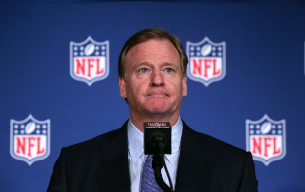 NFL Commissioner Roger Goodell listens to a question during a news conference after the NFL owners winter meeting in Irving, Texas, Wednesday, Dec. 13, 2017.