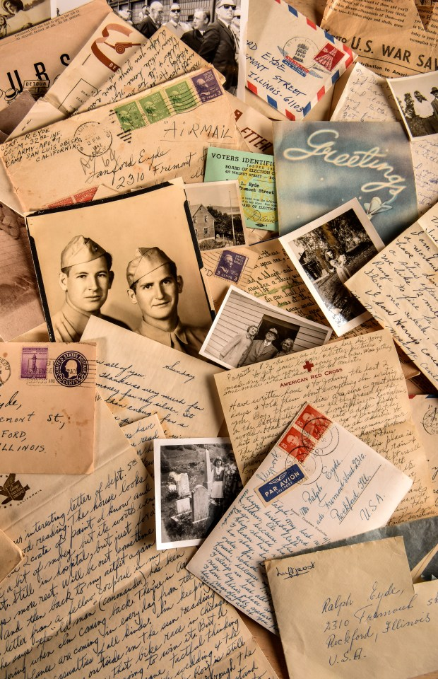 Shown are some of the hundreds of letters written during and after World War II, mostly by the members of a single family - the Eydes of Rockford, Ill. MUST CREDIT: Washington Post photo by by Bill O'Leary
