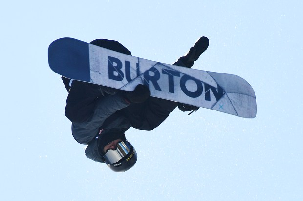 Jake Pates in action during men's pro snowboard superpipe final of Dew Tour in Brickenridge on Dec. 15, 2017. Pates won the final.