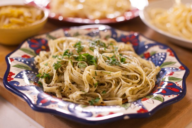 Linguine pasta in a fresh pesto sauce  on January 3 , 2018 in Denver. (Amy Brothers, The Denver Post)