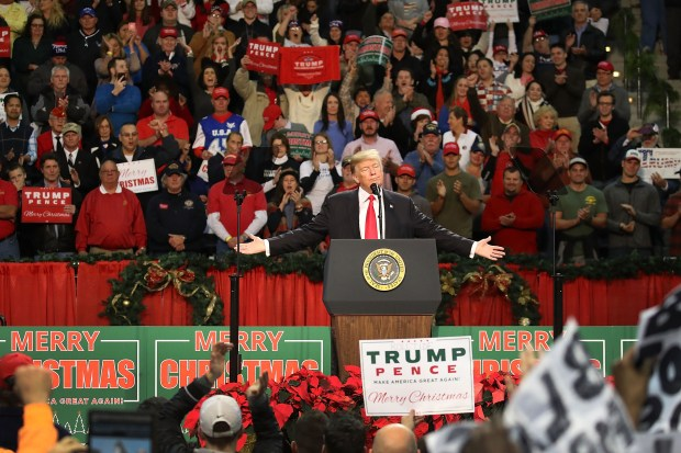 President Donald Trump speaks during a Dec. 8 rally in Pensacola, Fla. Trump urged voters in nearby Alabama to support Roy Moore, who later lost his U.S. Senate race to Doug Jones.