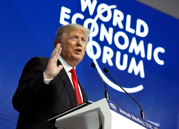 President Donald Trump speaks at the World Economic Forum in Davos, Switzerland, last Friday.