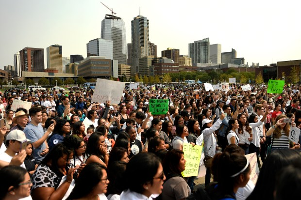 Thousands gather to support the Deferred Action for Childhood Arrivals (DACA) program at the Auraria Campus in Denver on Sept. 5, 2017.