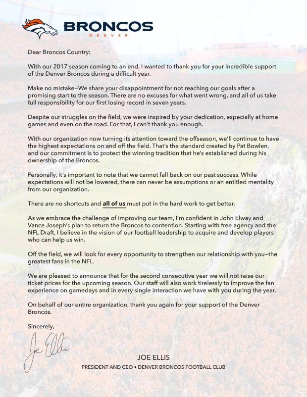 Joe Ellis letter