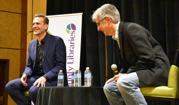 Actor/author Jason Segel talks before a book signing for Douglas County Libraries at the Lone Tree Marriott in November 2017.
