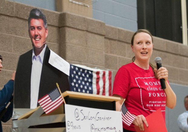 Lafayette Mayor Christine Berg looks at a cardboard cutout of U.S. Sen. Cory Gardner in the gymnasium of Denver's Byers Middle School while speaking about civic engagement during a Feb. 24, 2017, town hall meeting. The meeting was directed at Gardner, who was invited to attend but did not respond to the invitation.