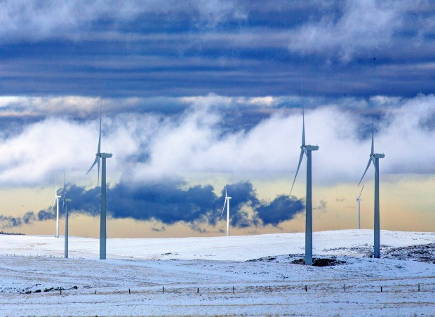 A wind farm operates outside Glenrock, Wyo.