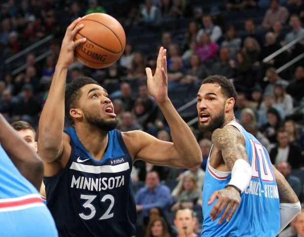 Minnesota Timberwolves forward Karl-Anthony Towns (32) ...