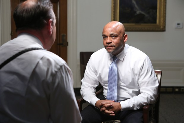 Denver Mayor Michael Hancock during an interview in his office with Denver7 on Monday, Feb. 26, 2018. (Image courtesy of Denver7)