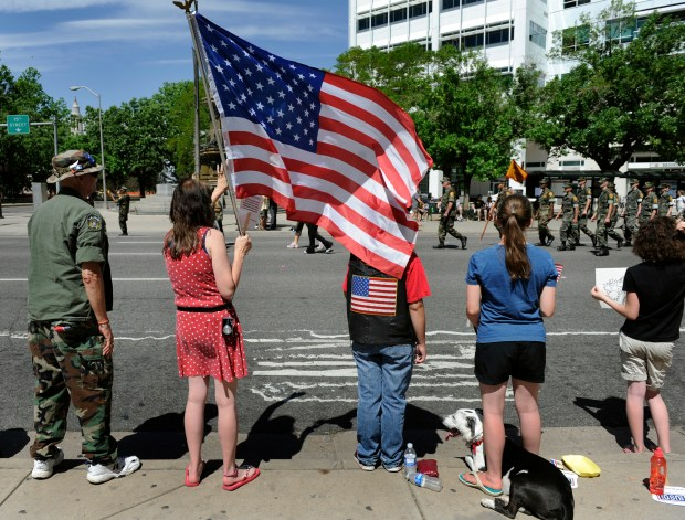 Denver's annual Memorial Day Parade travels down Broadway near Colfax Avenue on May 29, 2010.