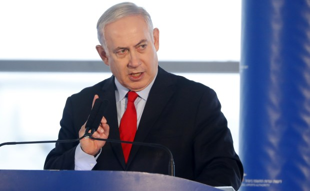 Israeli Prime Minister Benjamin Netanyahu speaks at Ben Gurion International Airport, near Tel Aviv, during an inauguration ceremony for a new section of the airport, last Thursday.