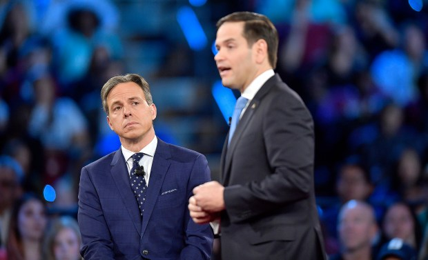 CNN's Jake Tapper listens to Republican Sen. Marco Rubio during a CNN town hall meeting on Wednesday in Sunrise, Fla.