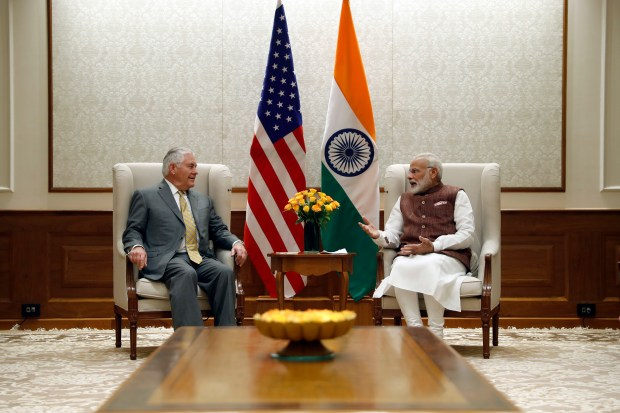 Secretary of State Rex Tillerson meets with Indian Prime Minister Narendra Modi at the prime minister's residence in New Delhi on Oct. 25, 2017.
