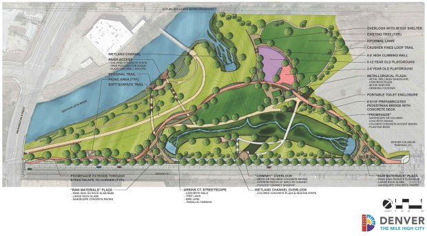 Denver's plan for Globeville Landing Park shows a new drainage channel, a new outfall (top center) and changes to the park when the project is completed in 2019.