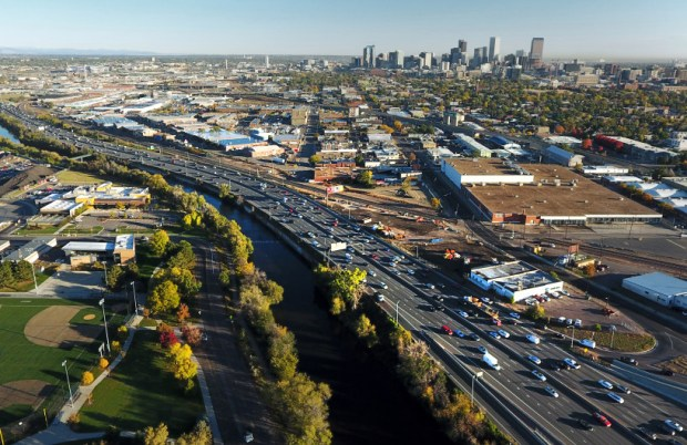 Morning rush hour traffic makes its way along Interstate 25 in Denver on Oct. 12, 2017. State Republicans have proposed legislation that would designate 10 percent of existing sales taxes to transportation projects.