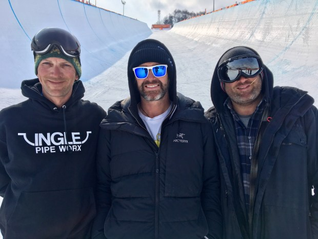 Copper Mountain pipe builders Jake Ingle, left, and Mark Pevny, right, joined Austria's Alli Zehetner in building and maintaining the PyeongChang Olympic halfpipe.
