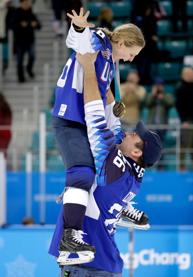 Kendall Coyne, top, of the United ...