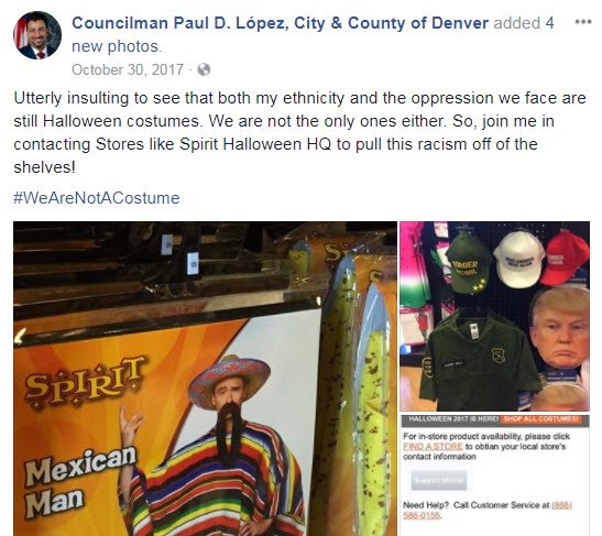 Councilman Paul López's Facebook post about Halloween costumes on Oct. 30m 2017.
