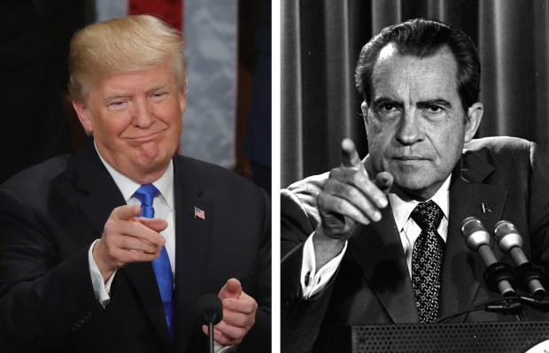 Left: President Donald Trump delivers his first State of the Union address on Jan. 30. Right: President Richard Nixon speaks during a March 15, 1973, news conference.