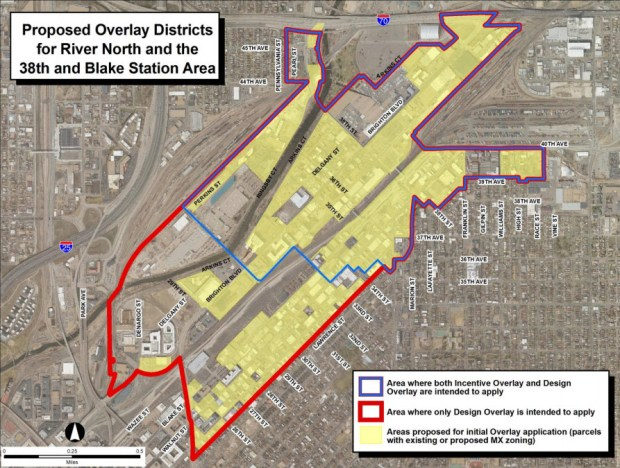 The map above, from a city presentation, shows where the affordable housing height incentive overlay district and the larger, overlapping design standards overlay district will apply. Initially, the zoning overlay will apply to properties with mixed-use zoning.
