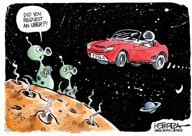 Tesla Roadster 2018 >> Drawn to the News: Tesla launched into space
